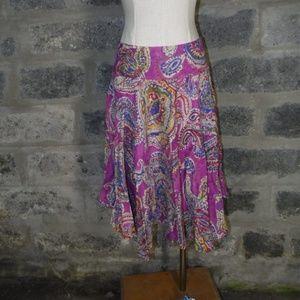 RALPH LAUREN purple paisley drop waist skirt